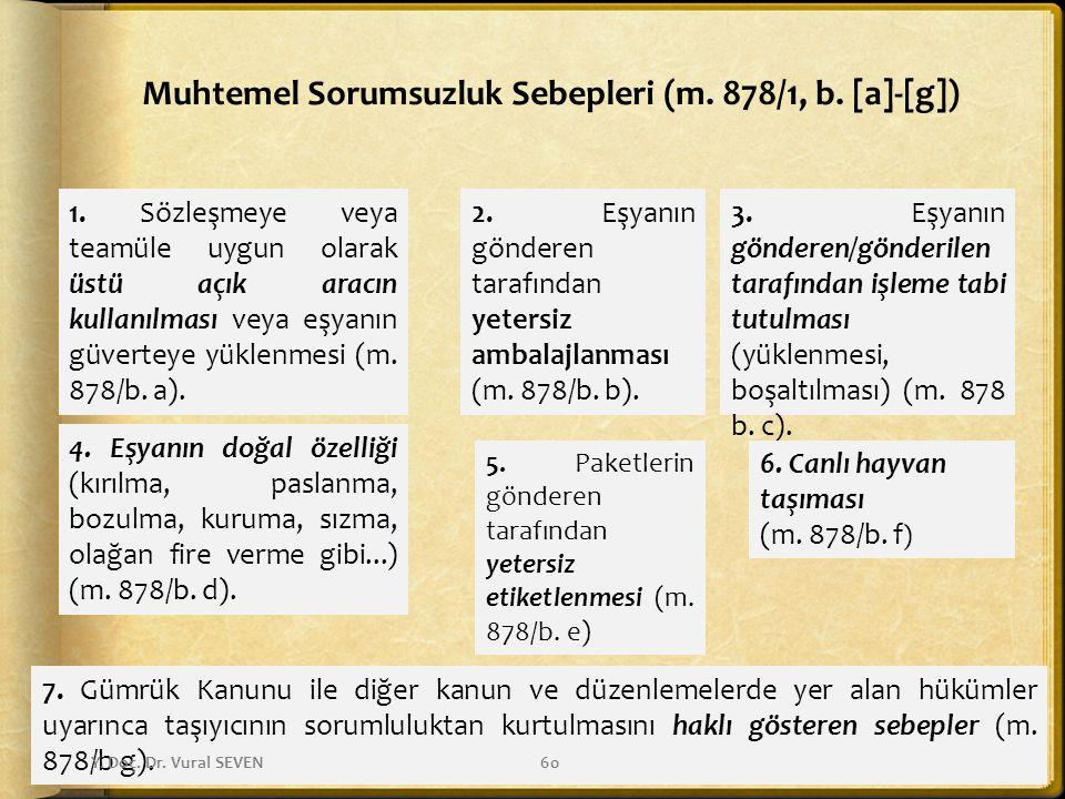 Muhtemel Sorumsuzluk Sebepleri (m. 878/1, b. [a]-[g])